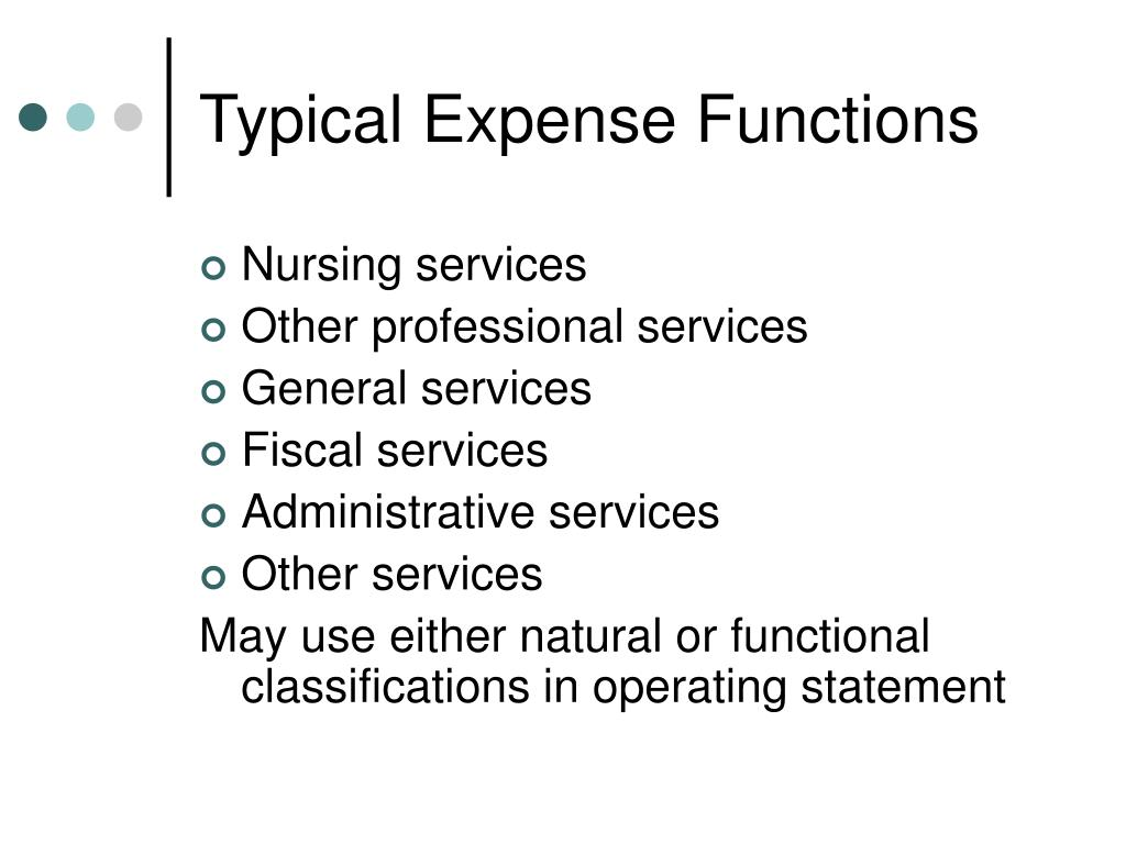 Typical Expense Functions