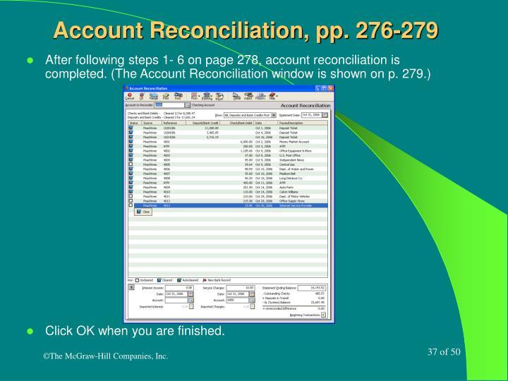 Account Reconciliation, pp. 276-279