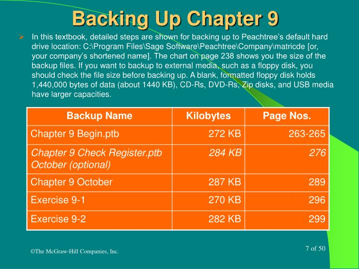 Backing Up Chapter 9