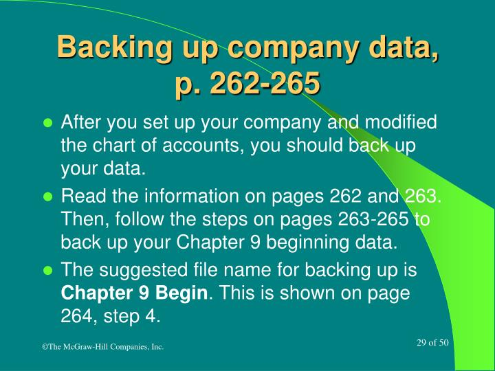 Backing up company data, p. 262-265