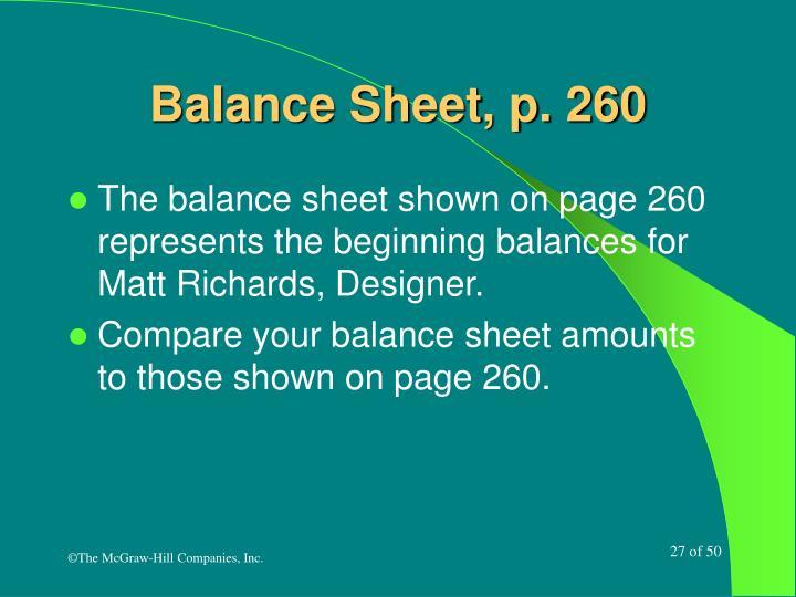 Balance Sheet, p. 260