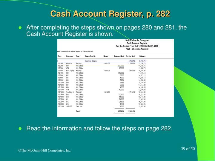 Cash Account Register, p. 282
