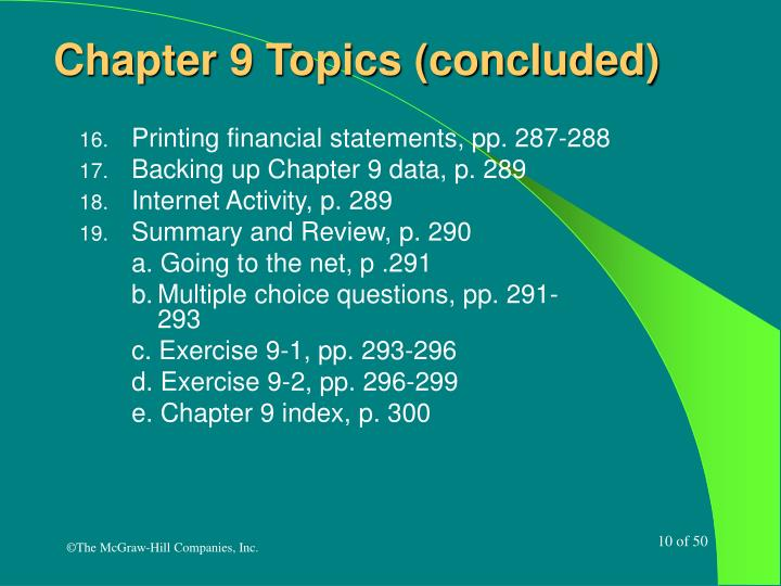 Chapter 9 Topics (concluded)