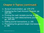 chapter 9 topics continued