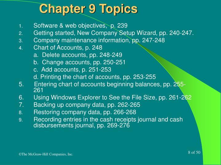 Chapter 9 Topics
