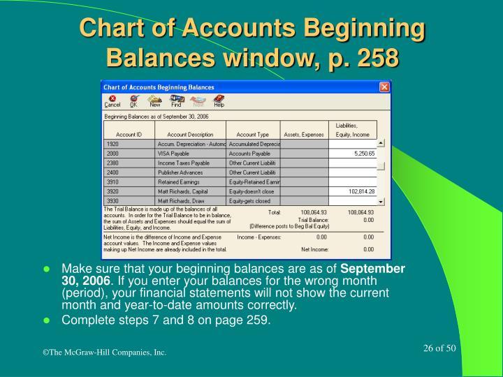 Chart of Accounts Beginning Balances window, p. 258