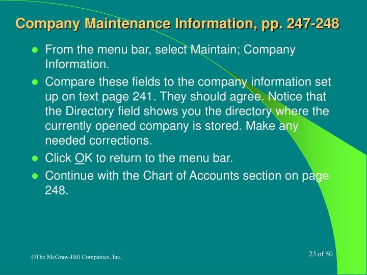 Company Maintenance Information, pp. 247-248