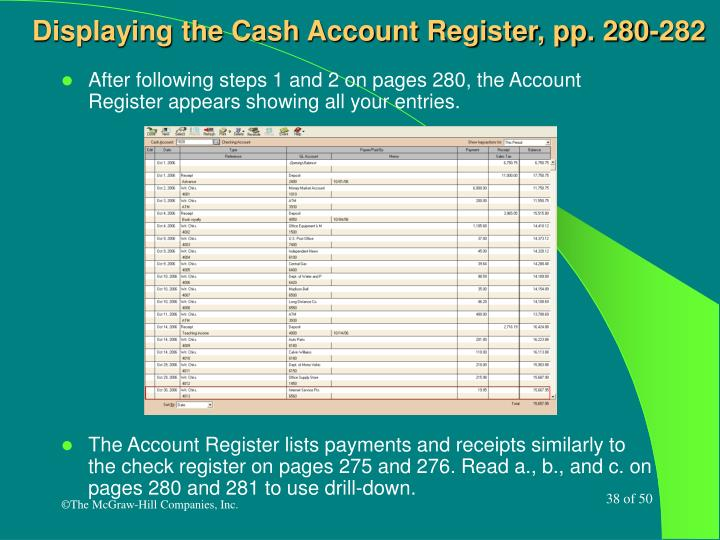 Displaying the Cash Account Register, pp. 280-282