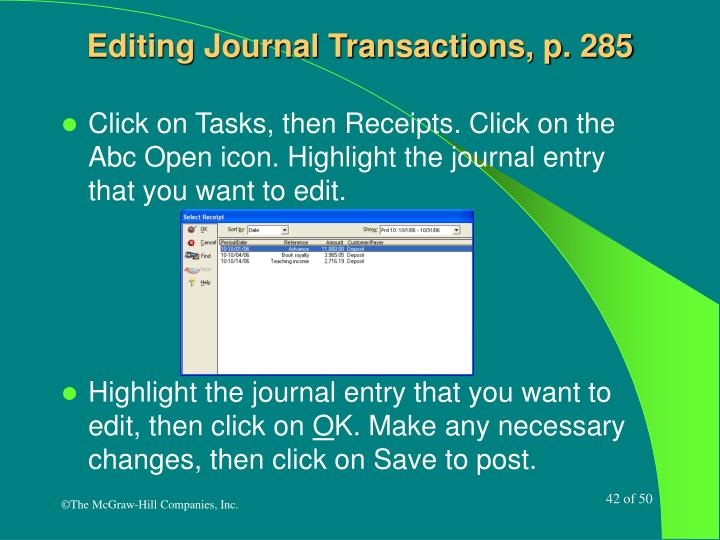 Editing Journal Transactions, p. 285