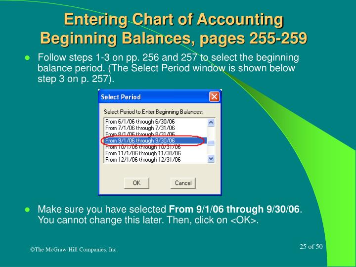 Entering Chart of Accounting Beginning Balances, pages 255-259
