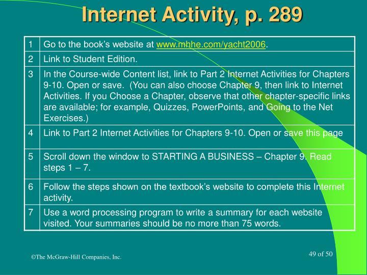 Internet Activity, p. 289
