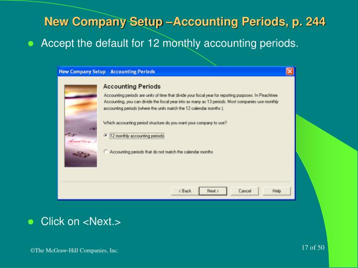 New Company Setup –Accounting Periods, p. 244