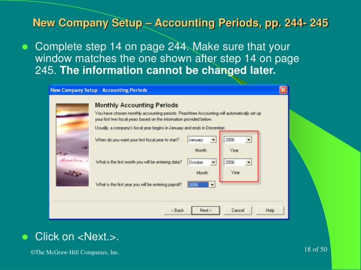 New Company Setup – Accounting Periods, pp. 244- 245
