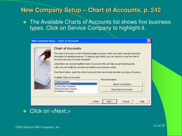 New Company Setup – Chart of Accounts, p. 242