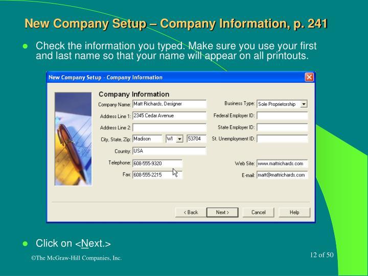 New Company Setup – Company Information, p. 241