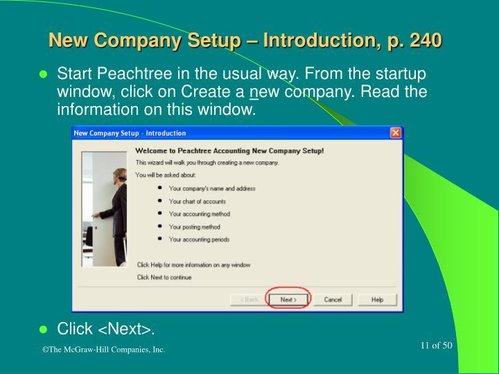 New Company Setup – Introduction, p. 240