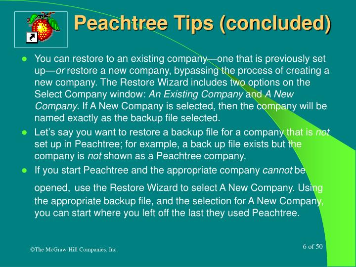 Peachtree Tips (concluded)