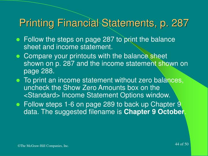 Printing Financial Statements, p. 287