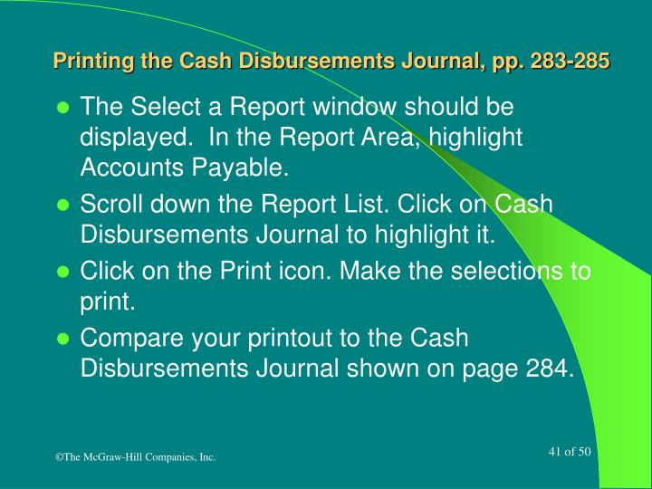 Printing the Cash Disbursements Journal, pp. 283-285