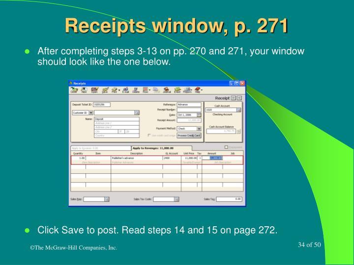 Receipts window, p. 271