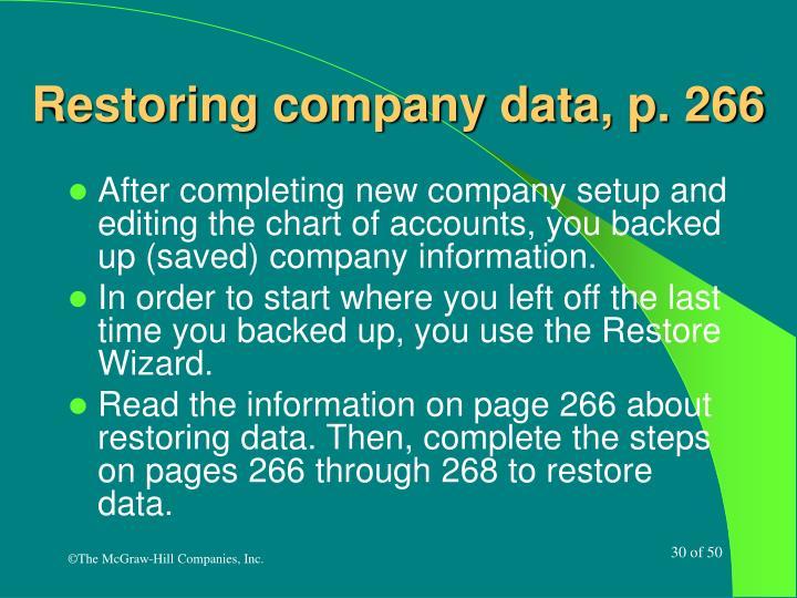 Restoring company data, p. 266