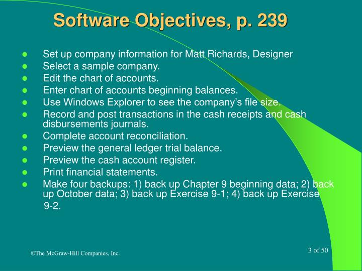 Software objectives p 239