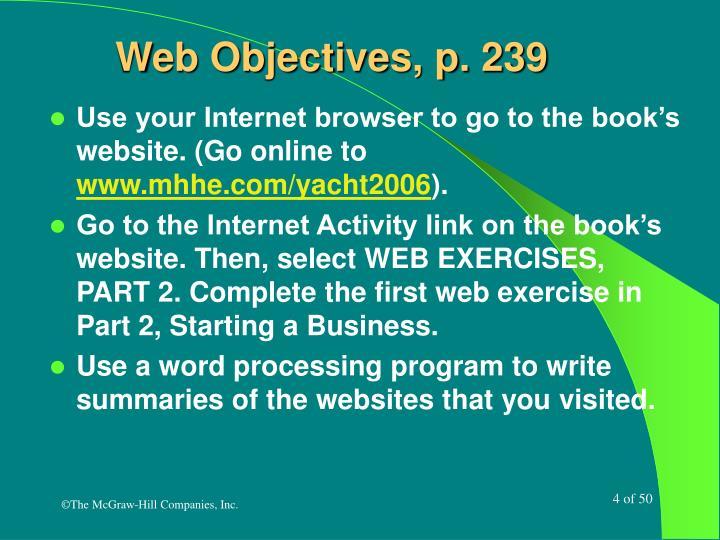 Web Objectives, p. 239