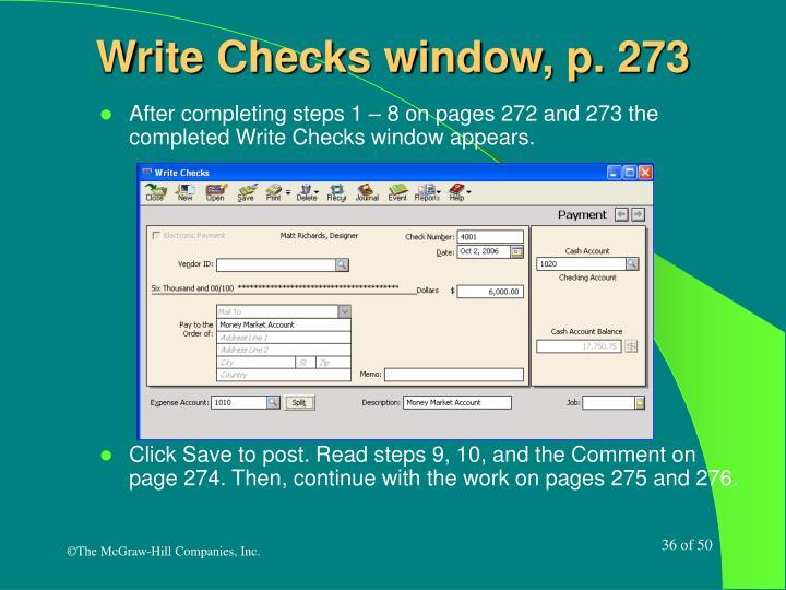 Write Checks window, p. 273