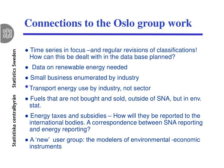 Connections to the Oslo group