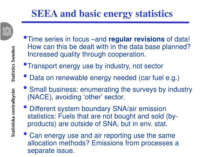 SEEA and basic energy statistics