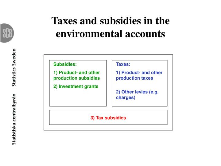 Taxes and subsidies in the environmental accounts