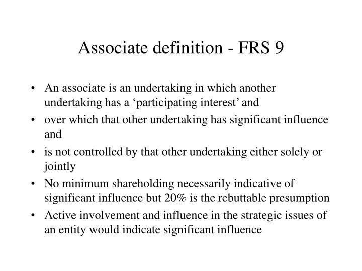 Associate definition - FRS 9