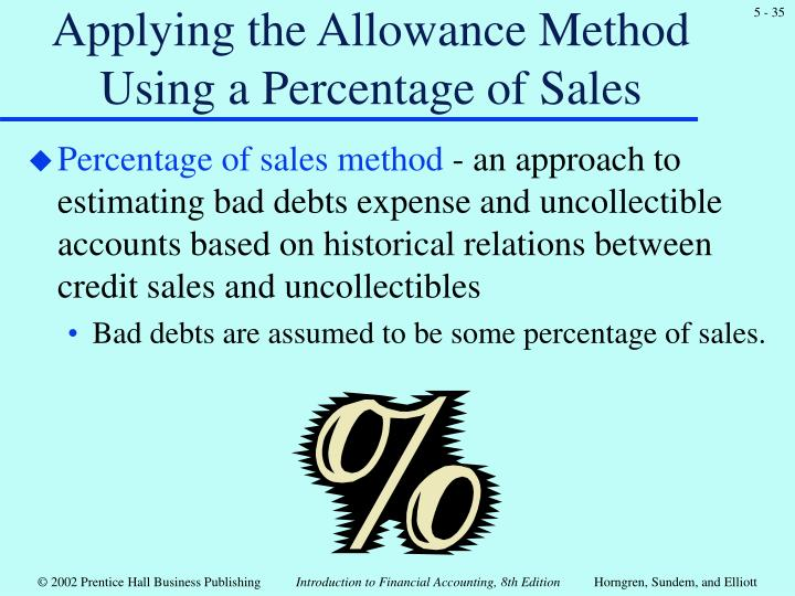 Applying the Allowance Method Using a Percentage of Sales