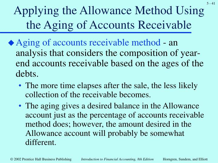 Applying the Allowance Method Using the Aging of Accounts Receivable