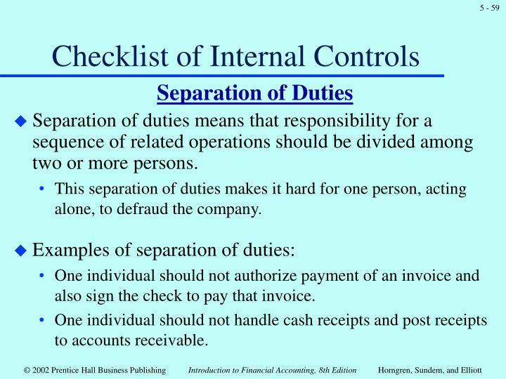 Checklist of Internal Controls