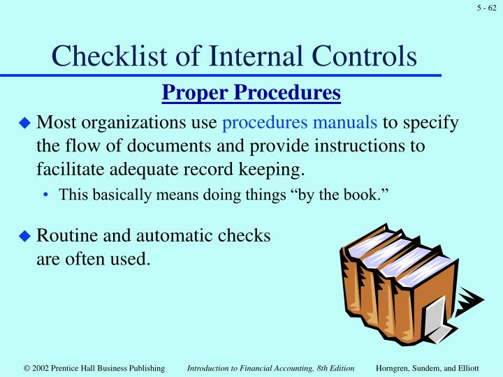 Checklist of Internal Controls