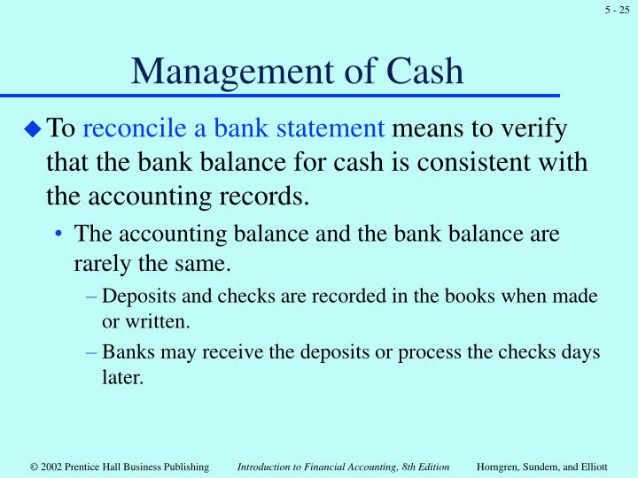 Management of Cash