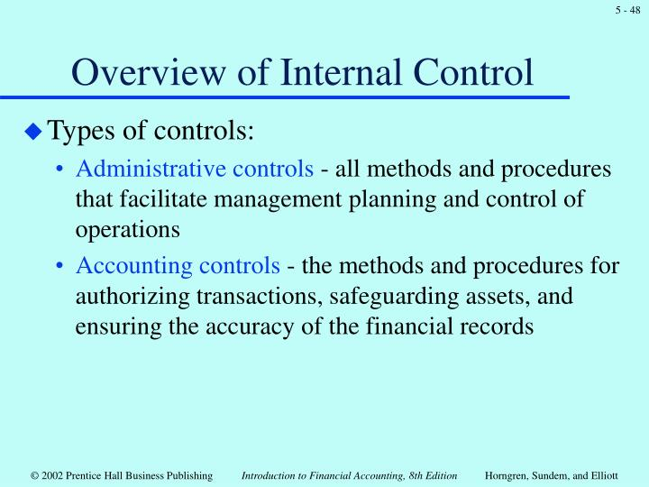 Overview of Internal Control