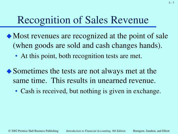 Recognition of Sales Revenue