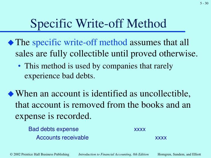 Specific Write-off Method
