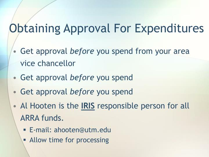 Obtaining Approval For Expenditures