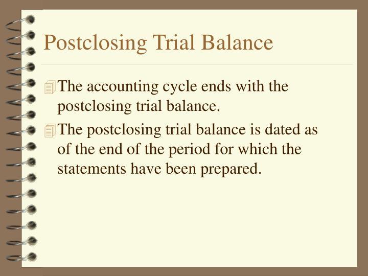 Postclosing Trial Balance