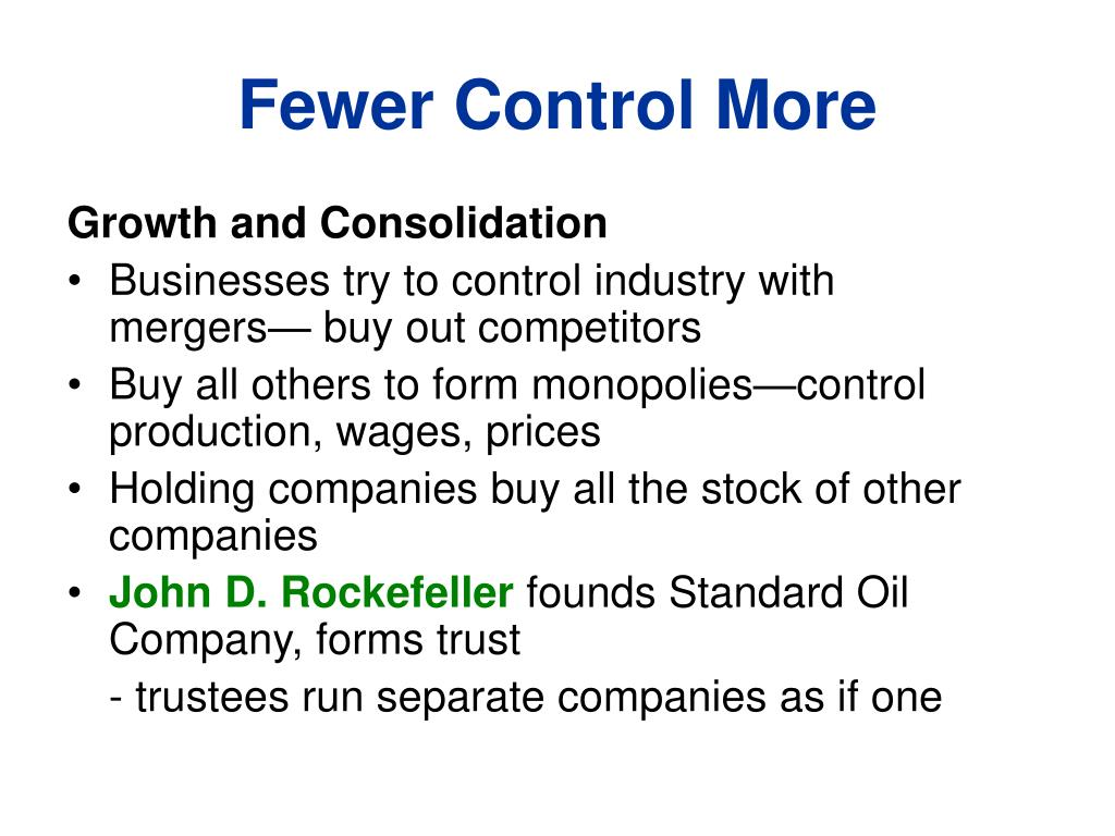 Fewer Control More