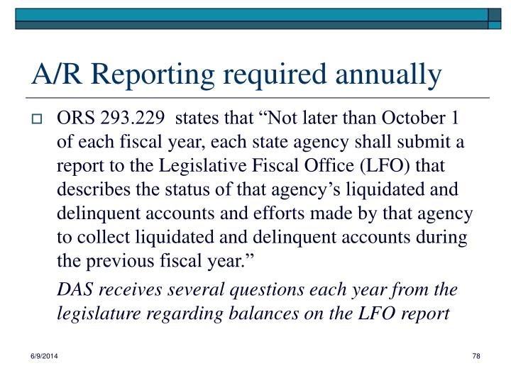 A/R Reporting required annually