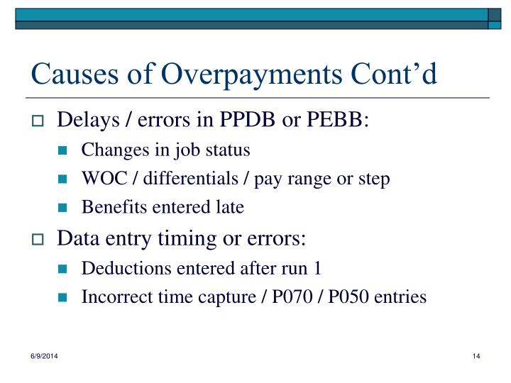 Causes of Overpayments Cont'd