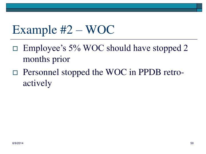 Example #2 – WOC