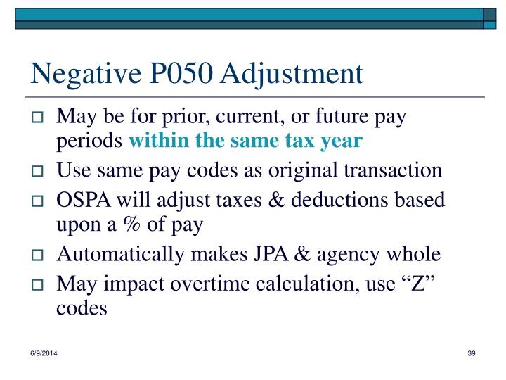 Negative P050 Adjustment
