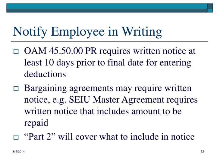 Notify Employee in Writing