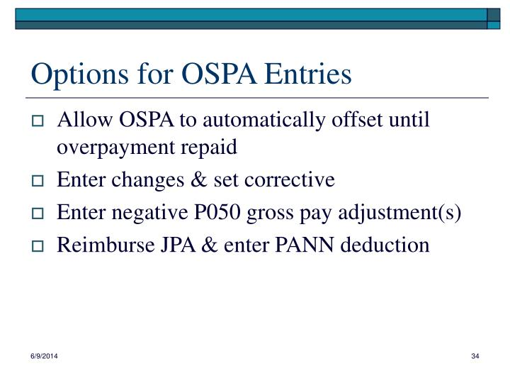 Options for OSPA Entries