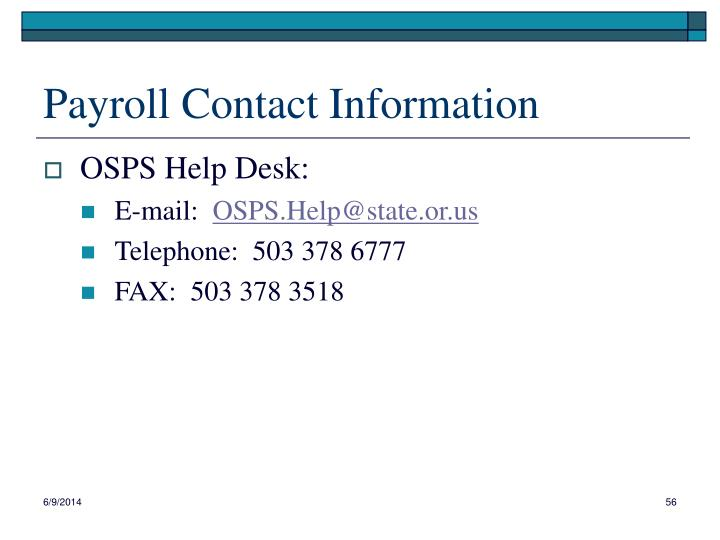 Payroll Contact Information